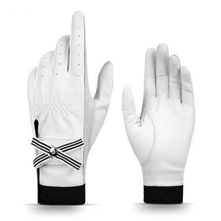 両手 ゴルフ用女子 レディース シープレザー 本革 リボングローブ 白 ホワイト