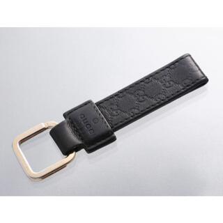 グッチ(Gucci)のS7241M グッチ シマ 本革 ブラック キーリング ITALY製(キーホルダー)
