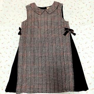 プティマイン(petit main)のサイドリボン切り替えジャンパースカート110(ワンピース)