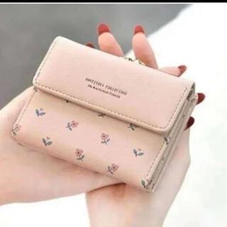 (ピンク)花柄 財布 がま口 ミニ財布 ミニ財布 三つ折り財布 コンパクト財布