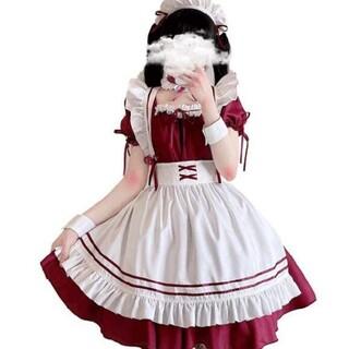 本格メイド服セット (ワインレッド)(衣装一式)