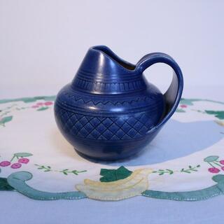 【CR2105-I1】ポッテリ花瓶 ブルー 水差し ドイツヴィンテージ雑貨