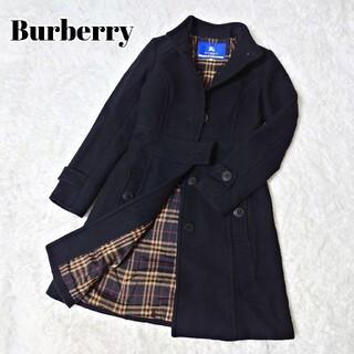 バーバリーブルーレーベル(BURBERRY BLUE LABEL)のバーバリー ブルーレーベル カシミア アンゴラ コート Aライン チェック(ロングコート)