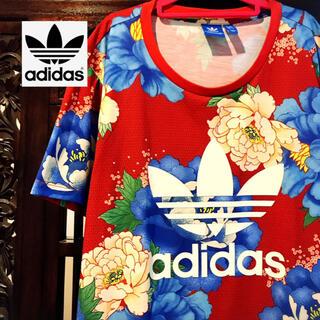 アディダス(adidas)のアディダス ファーム 赤 花柄 Tシャツ パーカー ジャージ 着物 和柄 牡丹(Tシャツ(半袖/袖なし))