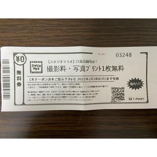 スタジオマリオ 無料引換券 撮影料写真プリント1枚無料 5280円分