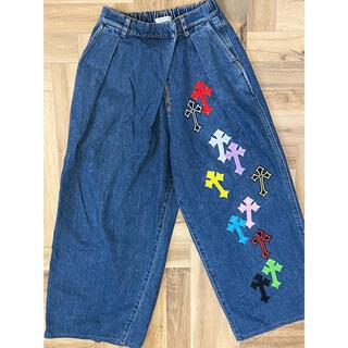 Chrome Hearts - レディース ワイドジーンズパンツ 古着リメイク カスタム 刺繍クロスパッチ