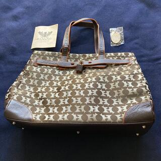 濱野皮革工藝/HAMANO - 濱野皮革工藝ナイロン/革製トートバッグこげ茶系美品