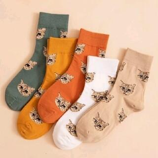 【新品】ねこ ネコ 猫 靴下 クルーソックス 暖色 5足セット 海外製品 秋冬