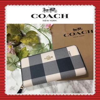 COACH - 【新品未使用】COACH coach コーチ ダークブルー チェック柄 長財布