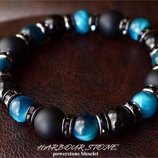 タイガーアイカイヤナイトカラー×マットオニキス天然石パワーストーンブレスレット