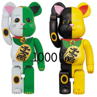 MEDICOM TOY - BE@RBRICK 招き猫 白×緑 /黒×黄 1000%