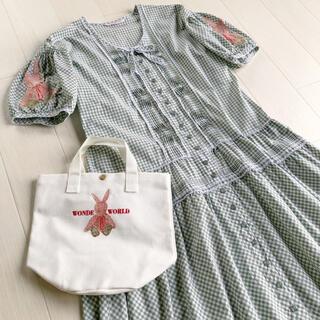 ピンクハウス(PINK HOUSE)のワンダフルワールド 刺繍 ギンガム うさぎ チェック ワンピース バッグセット(ロングワンピース/マキシワンピース)