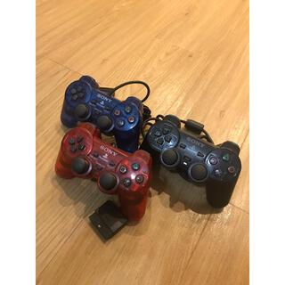 プレイステーション2(PlayStation2)のPS2 デュアルショック2 オーシャンブルー クリアレッド コントローラー ×3(その他)