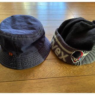 ブリーズ(BREEZE)のCONVEX ツバ付きニット帽 黒グレー  帽子 52cm  紺色 (帽子)