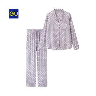 ジーユー(GU)のGU パジャマ ドット 長袖 パープル(パジャマ)