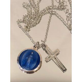 奇跡のメダイユ メダイネックレス(不思議のメダイ)   ●メダイブルー×十字架(ネックレス)
