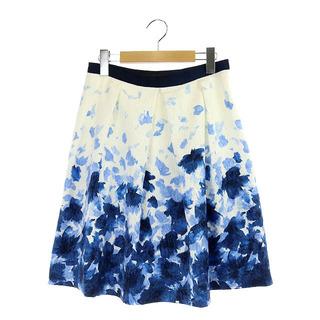 アナイ(ANAYI)のアナイ フレアスカート 膝丈 フラワー柄 花柄 38 白 青 ホワイト (ひざ丈スカート)