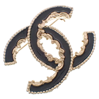 CHANEL - シャネル ココマーク ブローチ ゴールド金 ブラック黒 40802004775