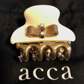 acca - アッカacca 4センチサイズ ゴールドリボン&ビジュー♡ミニバンスクリップ