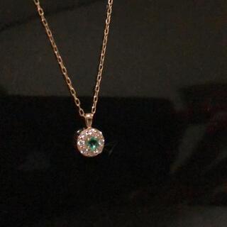 エメラルド ダイヤモンドプチネックレス ピンクゴールド