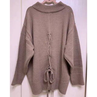 しまむら - ★美品 しまむら 後ろ編み上げ リボン ニット ベージュ M