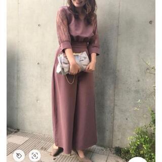 RANDA - RANDA♡Vネック袖レースロンパース♡パープル0サイズ♡結婚式謝恩会♡ランダ♡