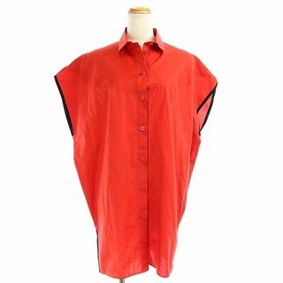Hermes - エルメス チュニック ノースリーブシャツ ブラウス バイカラー S 赤 黒