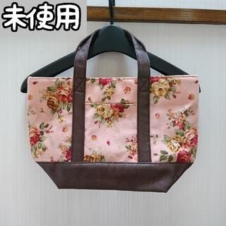 未使用 花柄 ミニトートバッグ ピンク×ブラウン