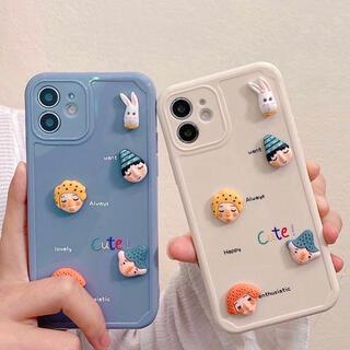 ウサギと可愛い立体お人形顔 iPhoneケース スマホケース