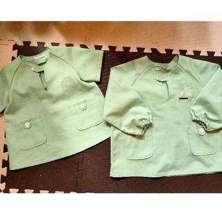 KDI スモック 110 黄緑 半袖 長袖