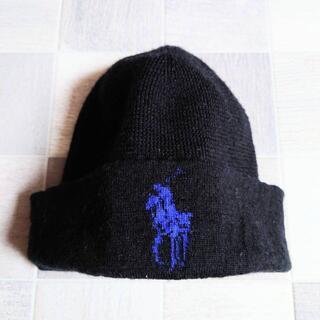 ポロラルフローレン(POLO RALPH LAUREN)のPOLO RALPH LAUREN ロゴ ニット キャップ ブラック(ニット帽/ビーニー)