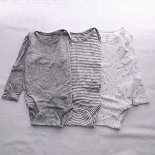 babyGAP - BabyGAP 長袖ロンパース 3枚セット 12-18 80cmサイズ グレー