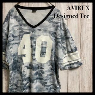 AVIREX - 【希少デザイン】AVIREX 総柄 Tシャツ プリント 半袖 タイダイ 迷彩