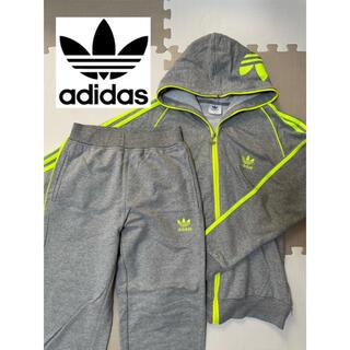 adidas - adidas アディダス ジャージ グレー フード付 蛍光 S M セットアップ