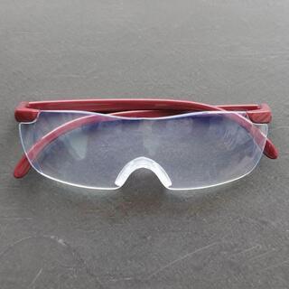 特価 拡大鏡メガネ型ルーペ 1.6倍 ブルーライトカット おしゃれ男女兼用 赤色