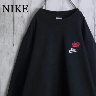ナイキ(NIKE)の【美品】【両面刺繍】ナイキ 刺繍ロゴ 3連 スウェット L 黒(スウェット)