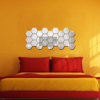 【18×15.6×9cm】六角形 ミラー ハニカム ウォールステッカー(壁掛けミラー)