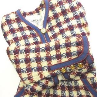 シャネル(CHANEL)のシャネル ヴィンテージ セットアップ スカート スーツ ツイード トリコロール(スーツ)