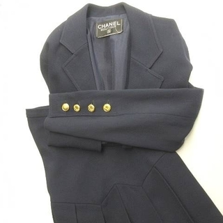 シャネル(CHANEL)のシャネル ヴィンテージ セットアップ ロング プリーツスカート 前開き 紺 36(スーツ)