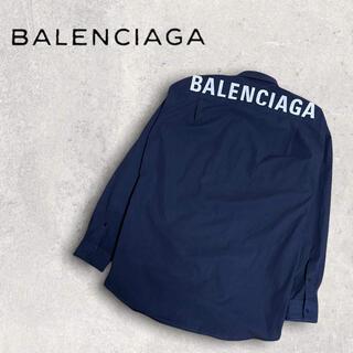 バレンシアガ(Balenciaga)のBALENCIAGA バレンシアガ シャツ ロゴ バックロゴ ネイビー(シャツ)