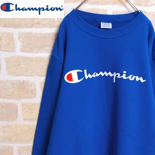 Champion - Champion チャンピオン トレーナー スウェット 青 ブルー デカロゴ M