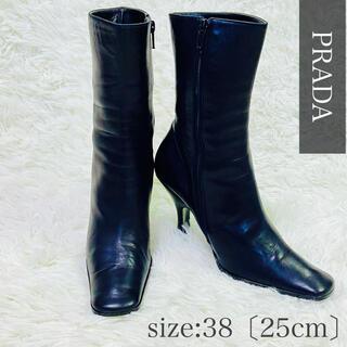 プラダ(PRADA)のプラダ PRADA ショートブーツ ヒール ブラック 本革 25cm(ブーツ)
