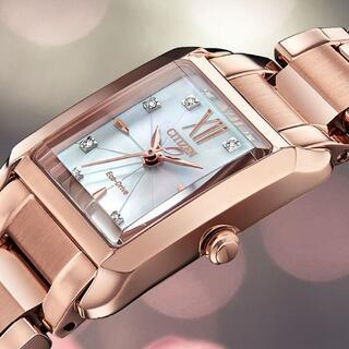CITIZEN - 新品 日本未入荷 シチズン 8石ダイヤ エコドライブ レディース ソーラー腕時計