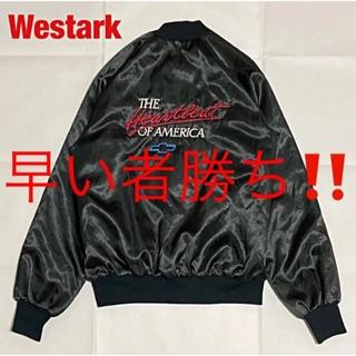 アメリヴィンテージ(Ameri VINTAGE)の【人気】Westark ナイロンジャケット スタジャン 刺繍 企業ロゴ 90s(スタジャン)