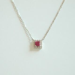 Vendome Aoyama - ヴァンドーム青山 ネックレス ダイヤモンド ルビー スクエア プラチナ 美品