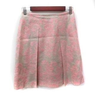 アナイ(ANAYI)のアナイ ANAYI フレアスカート ひざ丈 総柄 麻混 リネン混 38 ピンク(ひざ丈スカート)