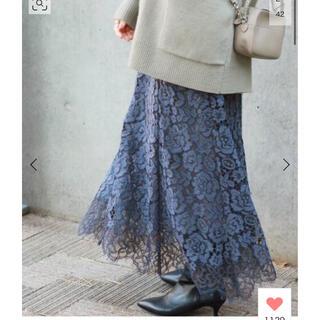 IENA - IENA レース裾フレアスカート 36