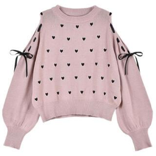 着るだけで可愛いハートリボンニット♡女の子らしいガーリーコーデに♡モテコーデに♡(ニット/セーター)