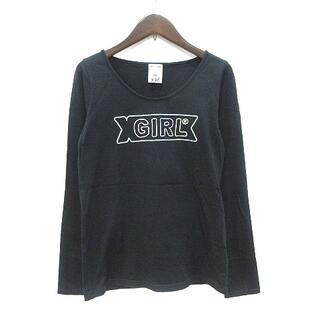 エックスガール(X-girl)のエックスガール x-girl Tシャツ カットソー 長袖 Uネック ロゴ刺繍 1(Tシャツ(長袖/七分))