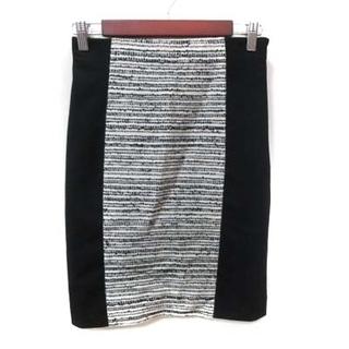 アナイ(ANAYI)のアナイ ANAYI タイトスカート ひざ丈 切替 ツイード 36 黒 ブラック(ひざ丈スカート)